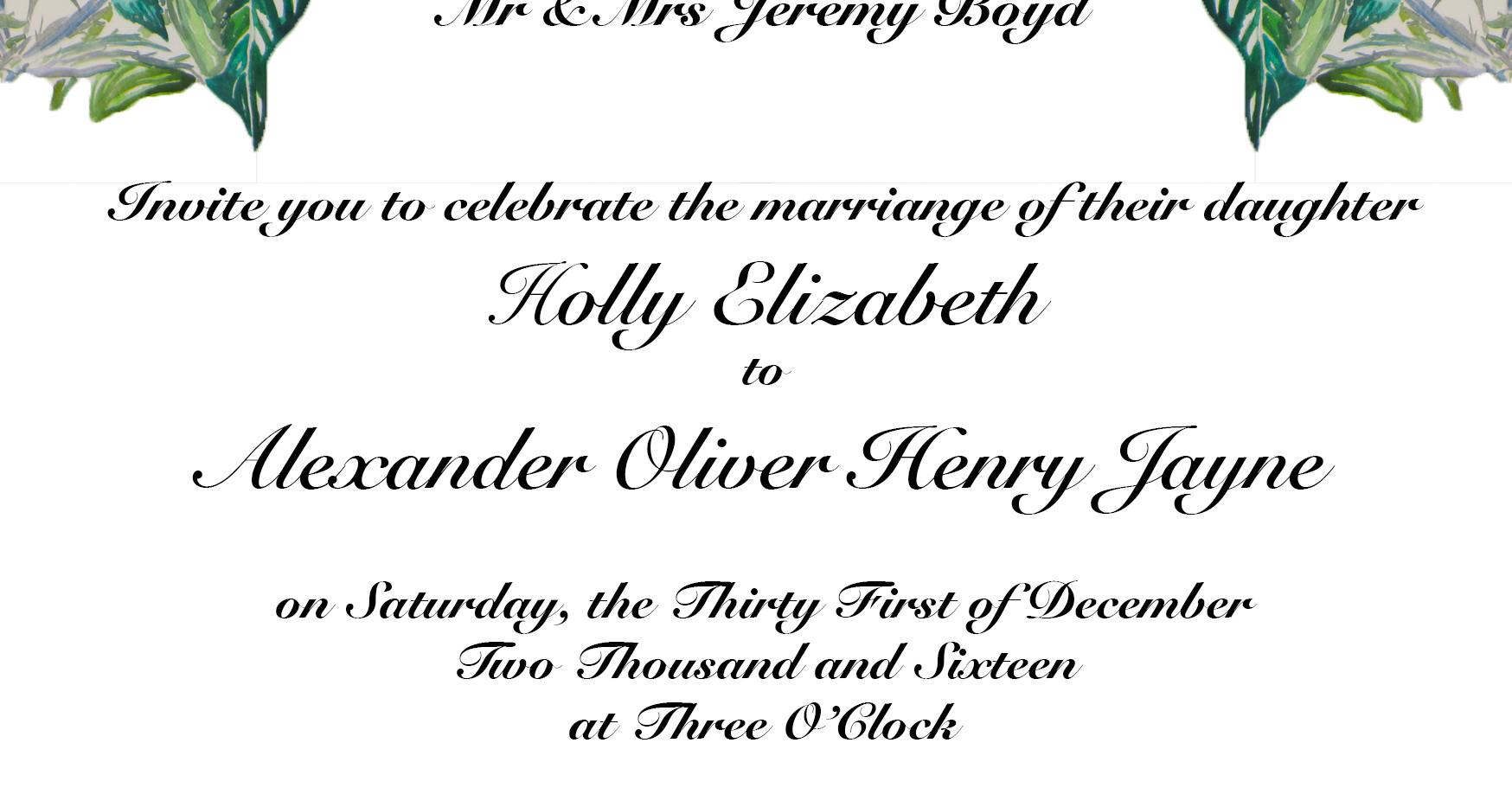 Holly & Alex Wedding Invitation - 1st Dr