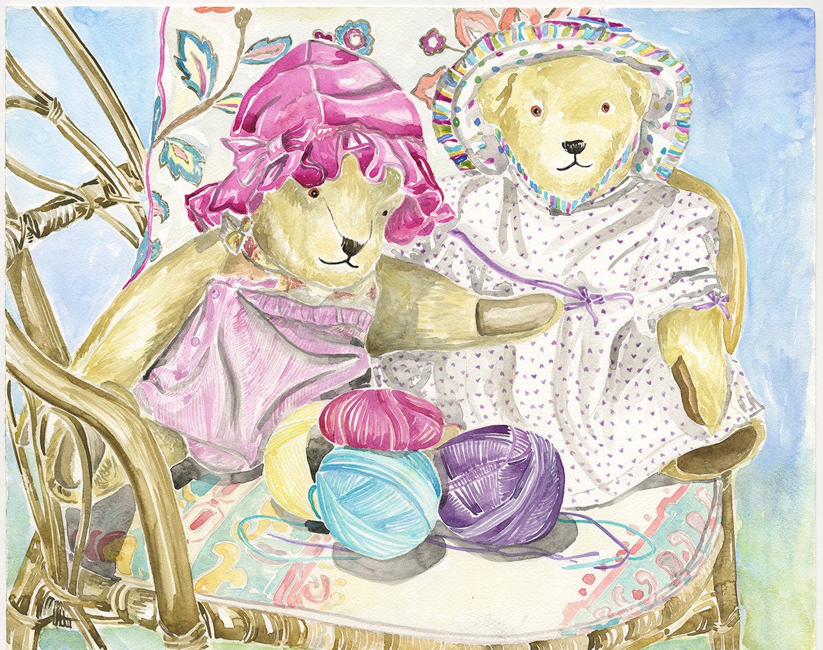 Summer bears playing with wool - small f