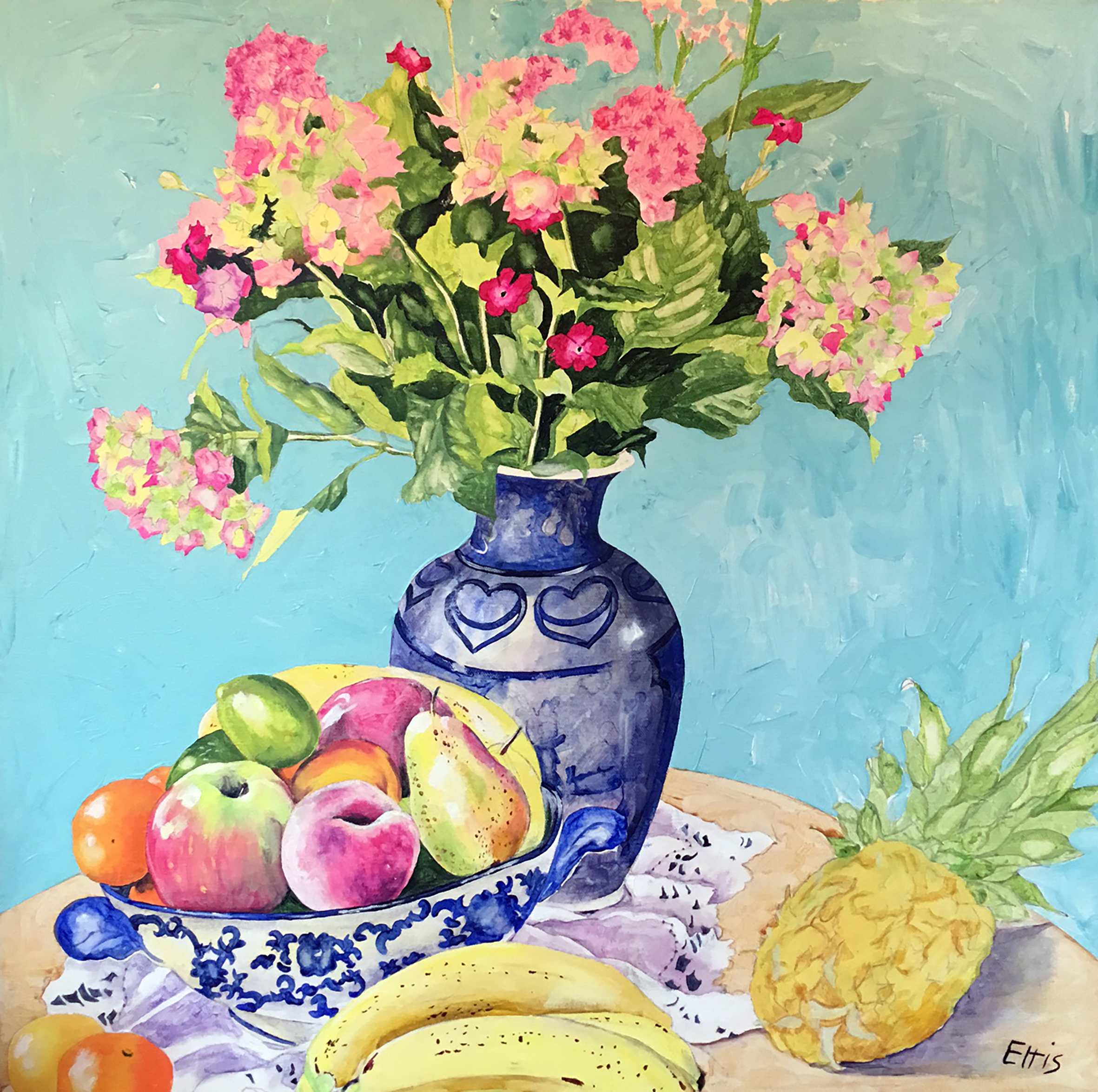 Fruit & Flowers in Blue & White