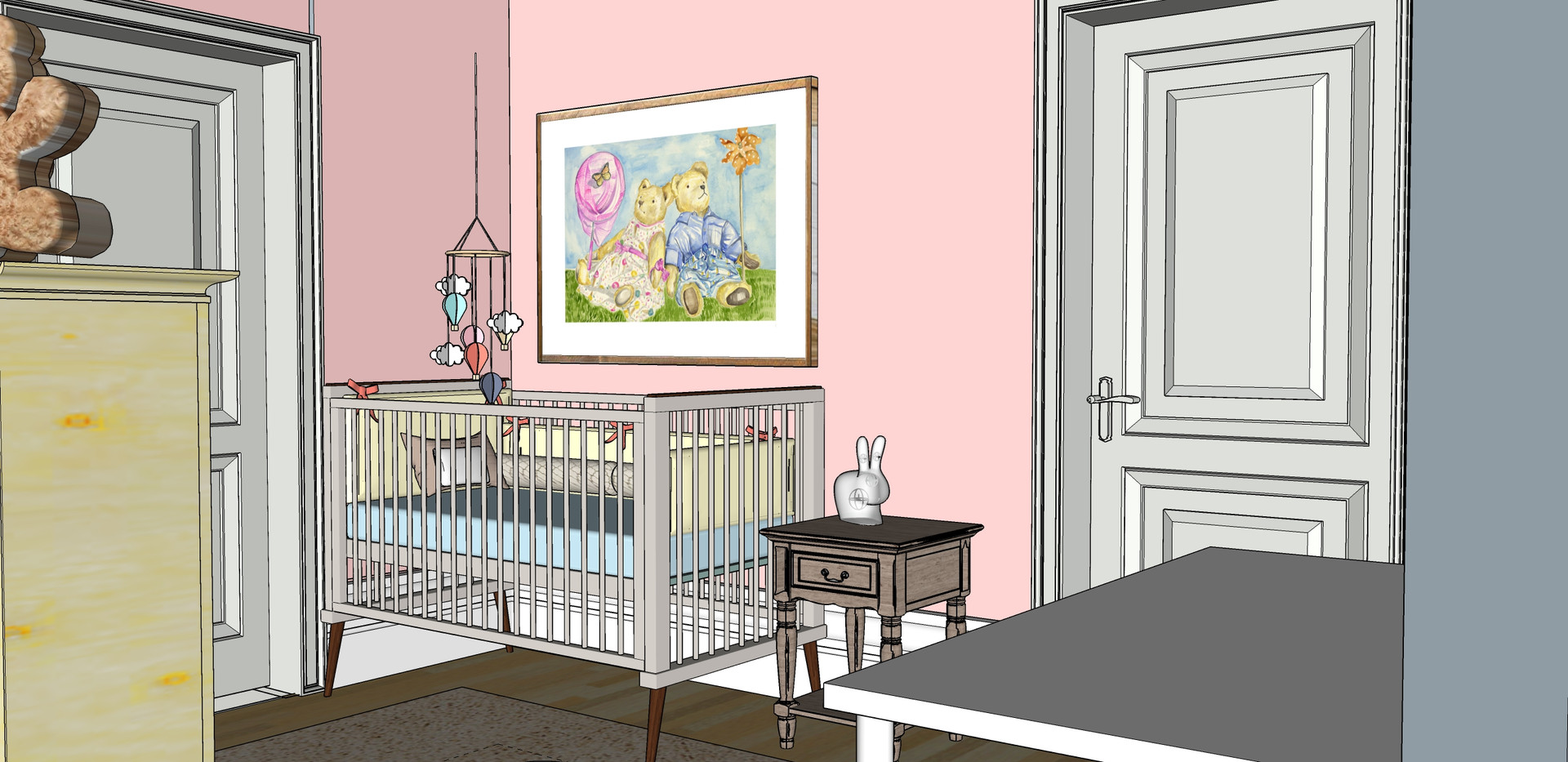 Baby Room - Furniture layout - Cot view.