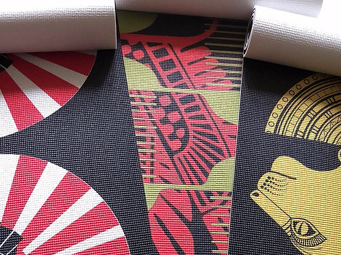 Afro Pick Pattern Yoga Mat