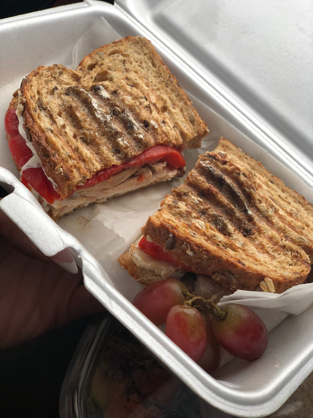 goddess bodies mozzarella, chicken, roasted peppers on whole wheat bread sandwich