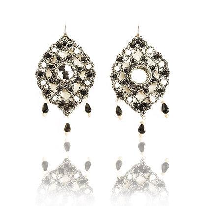 KxK  Black & White Arabesque (mirror) earrings