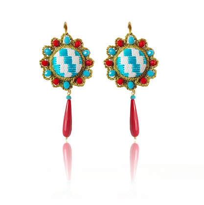 "KxK ""Wheels"" Blue Sea earrings"