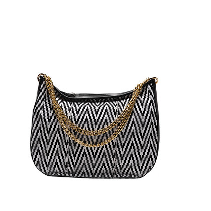 Black&White Maxi bag with gold chain handles
