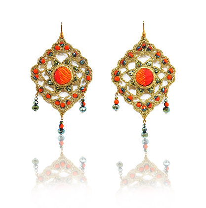 KxK Arabesque - Golden Red earrings