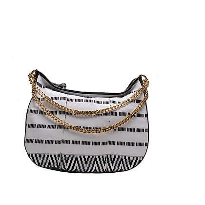 Black&White-strips Maxi Bag with gold chain handle