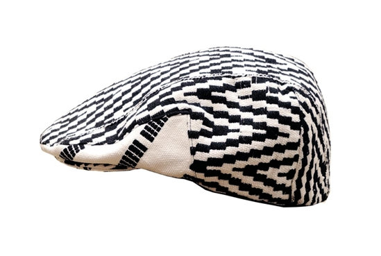 Black&White Sicilian Cap in Kente