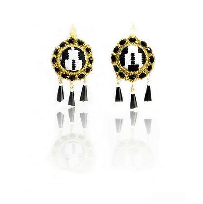 "KxK Black & White ""Wheels"" earrings"