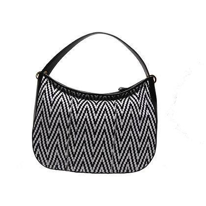 Black&White Maxi bag with leather handles
