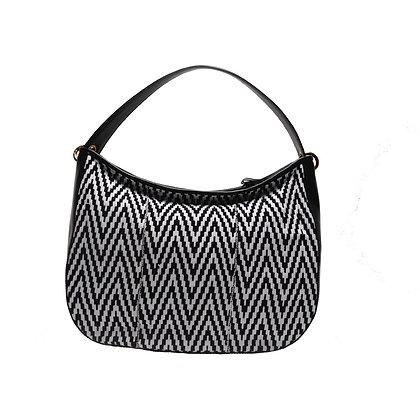 Maxi bag Black&White con manico in pelle