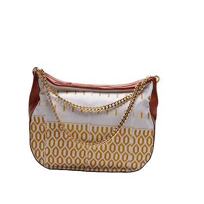 Gold-strips Maxi Bag with gold chain handles
