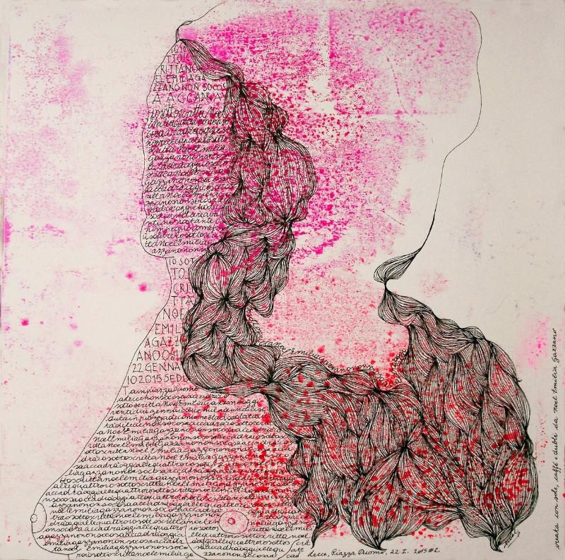 Noel Gazzano (2015) IoSonoscrittaNoelGazzanoNonSoCosaAccadrà. Mixed media on paper, 30x30cm