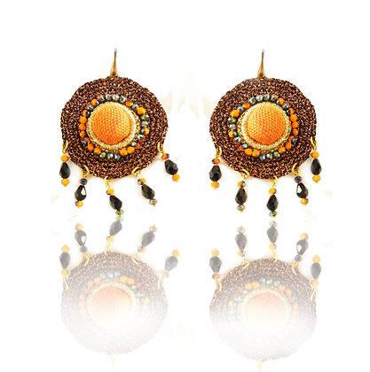 KxK Cupolette Golden Red earrings