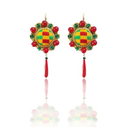 """KxK Multicolor Green """"Wheels"""" earrings"""