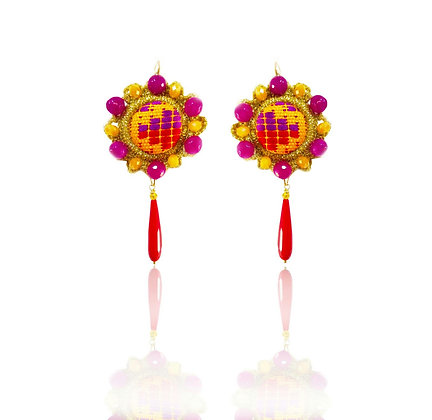 "KxK Multicolor Violet ""Wheels"" earrings"