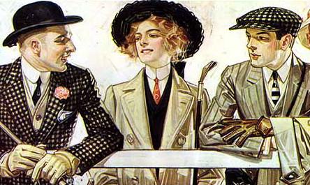 Giovani donne indossano la cravatta maschile. Illustrazione pubblicitaria per Arrow shirt collars, 1907.
