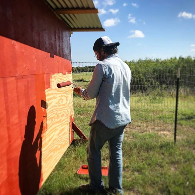 Just a man painting his barn #goatdaddy #farmlife #redbarn