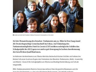 BENELUX-PARLAMENT: RSI-Schüler stellen Schulprojekt in Den Haag vor