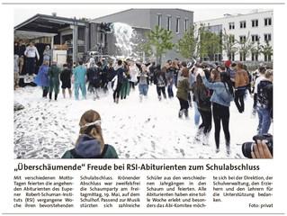 """""""Überschäumende"""" Freude bei RSI-Abiturienten"""