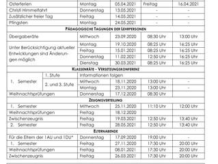 Schulkalender 2020-2021