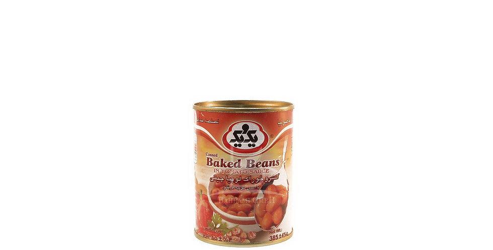 1&1- Gebackene Bohnen in Tomatensauce - کنسرو خوراک لوبیا چیتی یک و یک