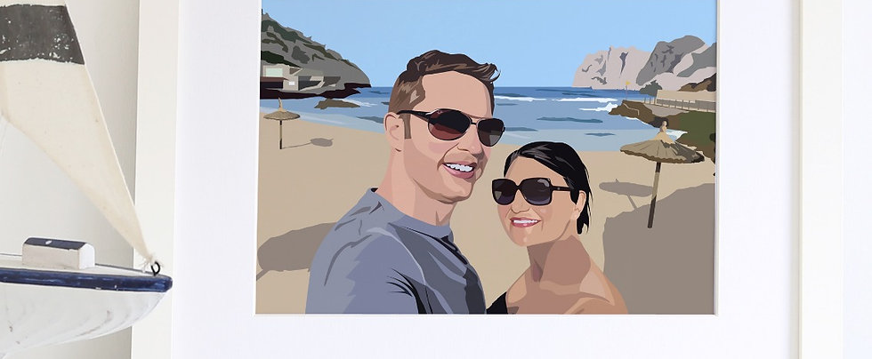 Couple Illustrated Print with detailed background