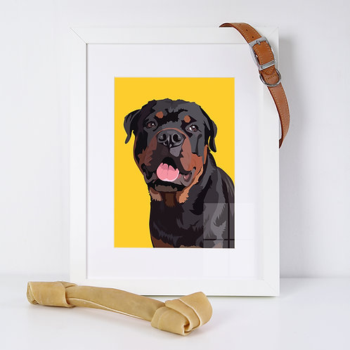Rottweiler Dog Illustrated Art Print
