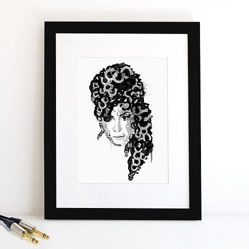 Amy Winehouse monochrome Art Print