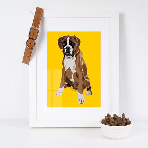 Boxer Dog Illustrated Art Print