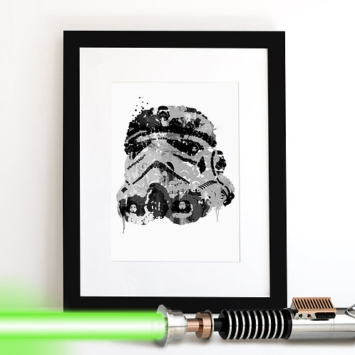 Storm Trooper Star Wars monochrome Art Print