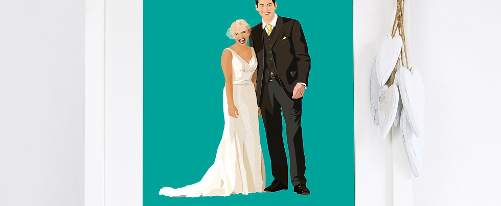 Wedding Illustrated Print with solid colour background