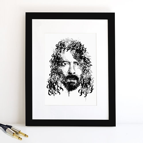 Dave Grohl monochrome Art Print