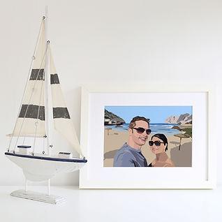 Bespoke couple, anniversary, wedding illustration using your photos