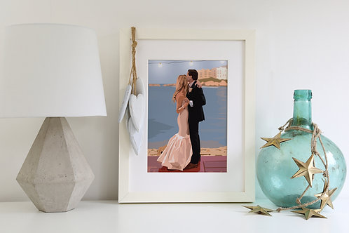 Wedding Illustrated Print with detailed background