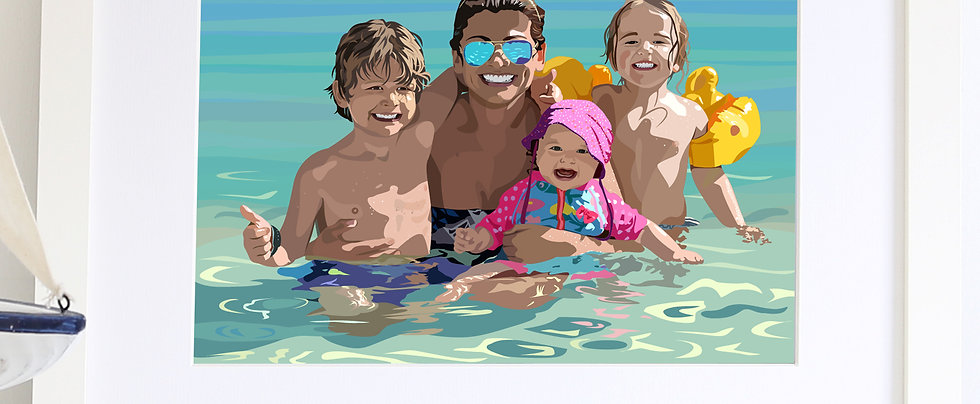 Family Illustrated Print with detailed background