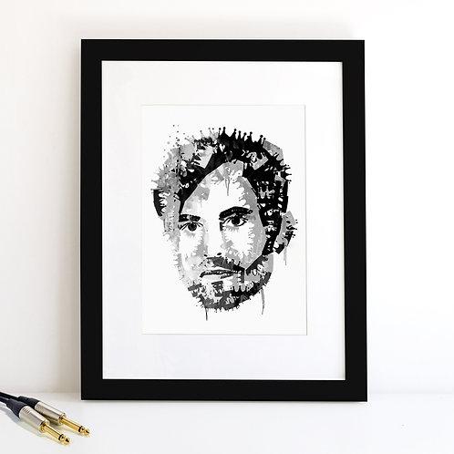 Caleb Followill -  Kings of Leon - monochrome Art Print
