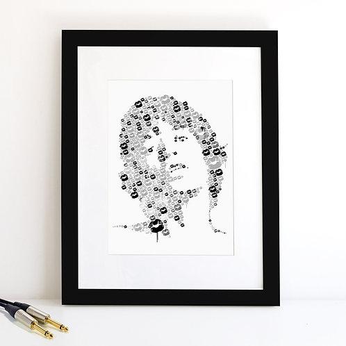 Mick Jagger monochrome Art Print