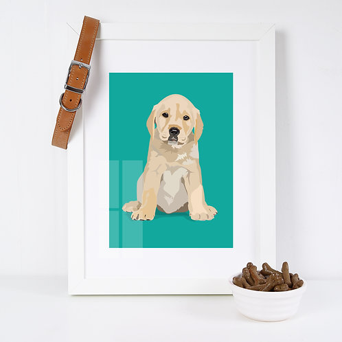 Labrador Dog Illustrated Art Print