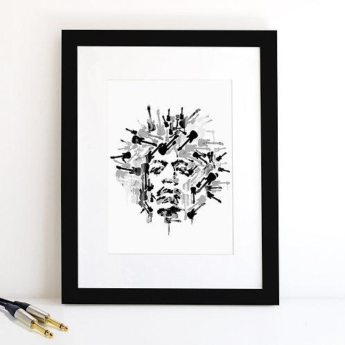 Jimi Hendrix monochrome Art Print