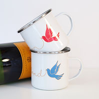 Enamel his and hers wedding mugs