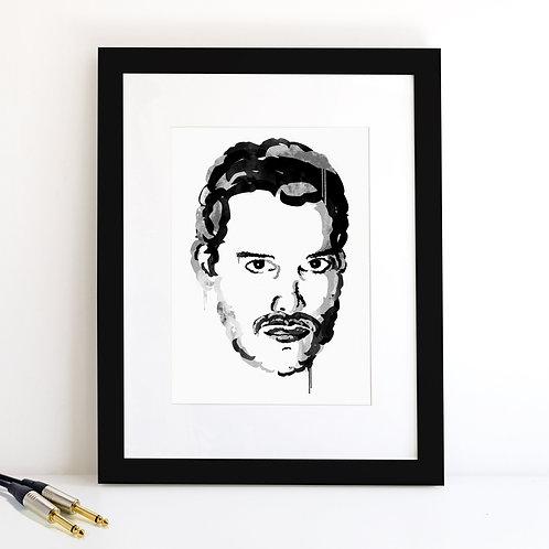 Freddie Mercury monochrome Art Print