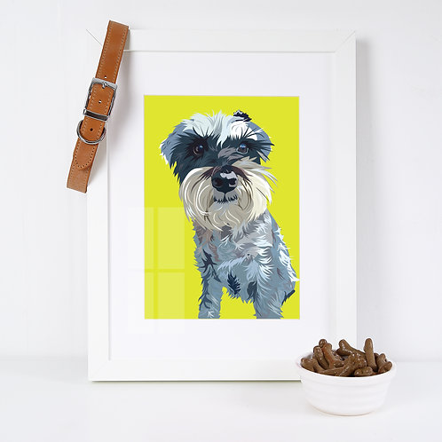 Schnauzer Dog Illustrated Art Print