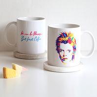 Personalised Music Mug with David Bowie Illustration