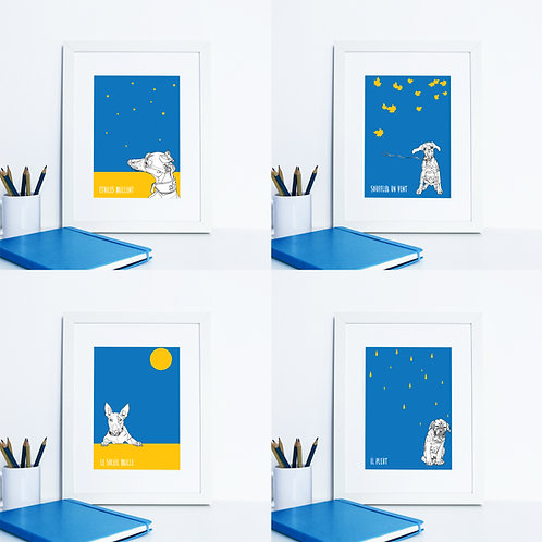 Set of 4 Graphic Dog Prints