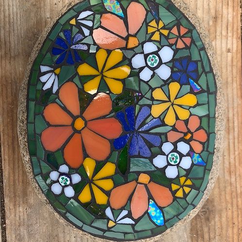 Garden Art - Large Stone with flowers