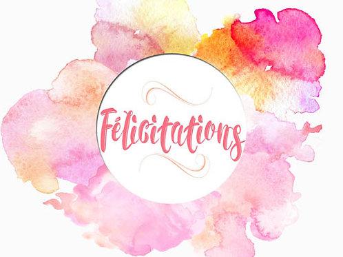 Carte message fleuriste x 25 - Félicitations Aquarelle