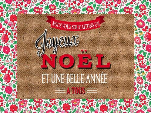 Carte fleuriste x 25  -Joyeux Noël et une belle Année- Réf FL034