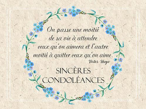 Carte message fleuriste x 25 - Condoléances II