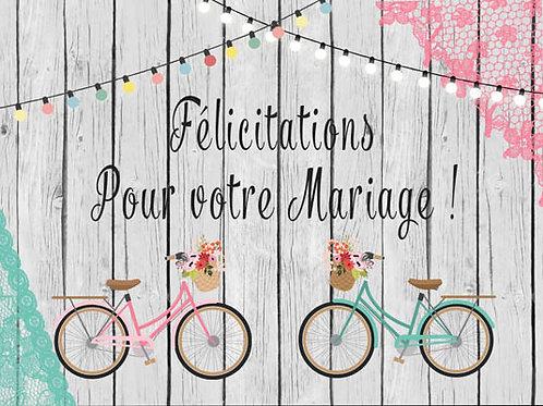 Carte fleuriste x 25 -Félicitation pour votre Mariage- Réf FL017